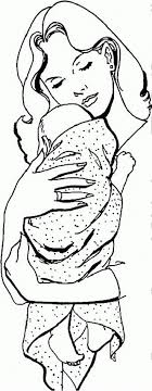 Baby Hugged By Mom Coloring Page