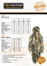 Ghillie Suit Size Chart Organized Highlander Shirts Size Chart 2019