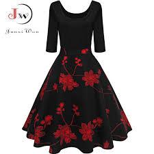 Junxi Wan <b>Women Elegant Floral</b> Print Dress <b>Autumn</b> Swing 50s ...