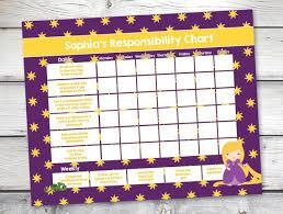 Kid Chore Chart Rapunzel Reward Chart Responsibility Chart Weekly Chore Chart Behavior Chart Allowance Chart Diy Editable Pdf