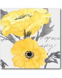 yellow poppy canvas wall art