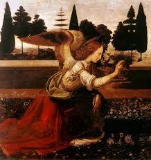 angel paintings the annunciation leonardo da vinci detail of the angel