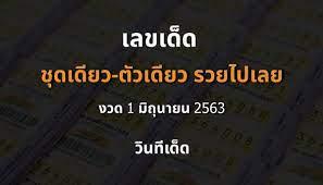 ชุดเดียว-ตัวเดียว รวยไปเลย เลขเด็ดประจำงวดวันที่ 1 มิถุนายน 2563