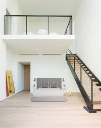 Mezzanine Floor Stairs Straight Tread Stairs With Balustrade Both