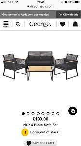 noir 4 piece sofa set outdoor garden furniture bbq summer patio black coffee table chairs