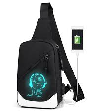 <b>Simple</b> Chest <b>bag</b> Canvas Luminous Casual Flaps Bags <b>USB</b> ...
