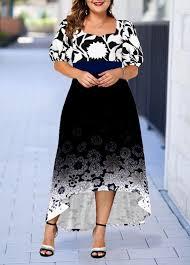 Modlily Size Chart Plus Size Floral Print Gradient High Low Dress Modlily Com Usd 34 09