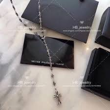 popular fashion brand 925 sterling silver cross long necklace for women anniversary gift wedding luxury jewelry with box