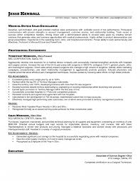 Medical Sales Resume Objective Device Examples Sample For Format
