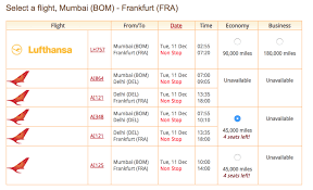 Star Alliance Redeem Miles Chart Now Book Star Alliance Awards Online On Air India Miles