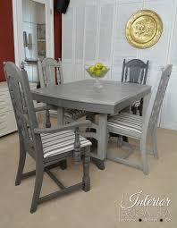 painted dining room set with trestle table and jacobean style chairs