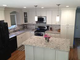 California Kitchen With White Shaker Cabinets Island