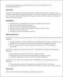 Resume Templates: Lowe S Customer Service Associate