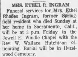 Obituary for Ethel Rhodes INGRAM - Newspapers.com