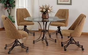 brilliant astounding swivel dining room chairs with casters 54 for throughout kitchen rollers decor 13