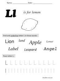 preschool letter L worksh