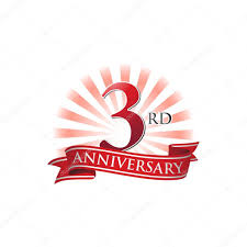 Anniversary Ribbon 3rd Anniversary Ribbon Logo With Red Rays Of Light Stock Vector