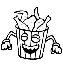 Smiling Bucket Of Fried Chicken Coloring Pages Download Print