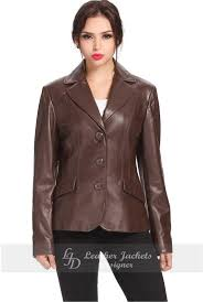 women brown 3 on leather blazer front view