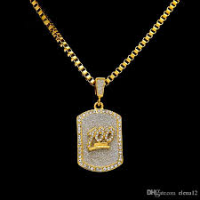 whole male tag necklaces men jewelry full rhinestone design filling pieces mens hip hop gold fashion chain necklaces for gifts silver pendants
