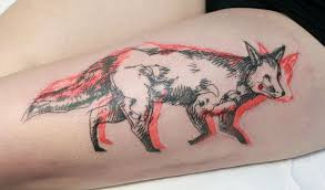 New School Tattoo With Fox And 3d