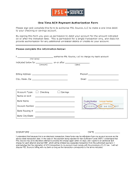 ach authorization form one time ach payment authorization form view form here