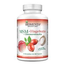 Biomenta Msm Schwefel Hagebuttenpulver Glucosamin Aktion 3 Monatskur Vegan 180 Msm Kapseln Hochdosiert Gelenkkapseln Bei Gelenk