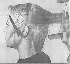 Дипломная работа Современные стрижки мужские и женские волос  8 Выделите прядь в зоне челки используя центрально вертикальный пробор выполните оттяжку под углом 90° и под таким же углом выполните срез