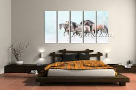 bedroom decor 5 piece wall art snow pictures horse art animal photo on blue and white canvas wall art with 5 piece animal wildlife horse blue multi panel art