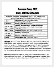 Summer Camp Daily Schedule Template 9 Camp Schedule Templates Doc Pdf Free Premium Templates