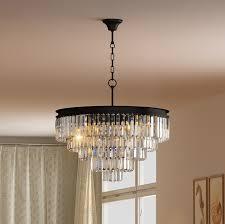 5 tier odeon crystal glass prsim fringe chandelier flush mount ceiling chrome lighting