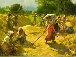 rice harvest threshing by fernando amorsolo oil on board 19¼ x 26