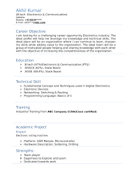 Modern Resume Not Including Objective Resume Templates For Electronics And Communication Engineer