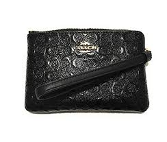 Coach F58034 Black Signature Debossed Patent Leather Corner Zip Wristlet