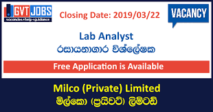 Lab Analyst Lab Analyst Milco Private Limited Government Job Vacancies