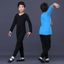 Shirts And Pants Boy Kids Black Blue Latin Ballet Dance Shirts And Pants Material Polyester And Spandex Stretchable Fabric Con