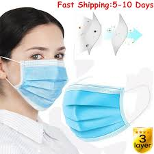 <b>100 PCS Disposable</b> Face <b>Mask</b> Surgical Respirator Dental Dust Flu ...