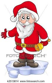 cute santa claus drawing. Plain Drawing Cute Santa Claus With Bell On Snow  Color Illustration On Drawing T