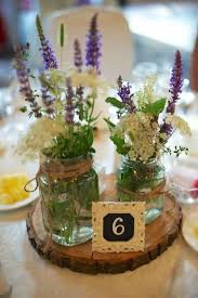 Fall Table Decorations With Mason Jars Picture Of A Wood Slice With Two Mason Jars With Wildflowers And A 33