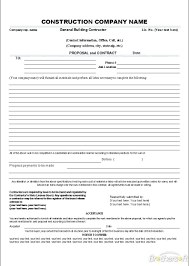 038 Contractor Proposal Template Free Construction
