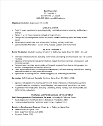 Custodian Resume Sample 17 Chronological Template