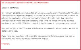 Employment Verification Letter 13 Samples Formats In