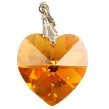 swarovski topaz ab heart crystal pendants silver bail