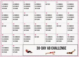 Healthy Living 30 Day Ab Challenge Calendar