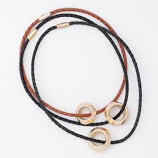 gold plated small ethiopian ring on 3mm leather choker