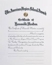 Honorable Mention Certificate School Award Honorable Mention Certificate American Legion