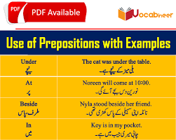 Preposition Chart In Hindi Prepositions In Urdu With Examples 30 Common English