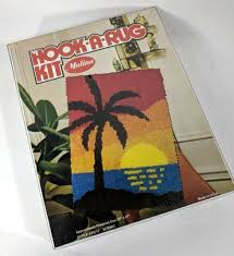 vintage latch hook rug kit scenic tropical sunset palms wall hanging