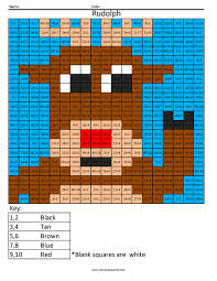 Small Picture Holiday Multiplication and Division Rudolph Coloring Squared