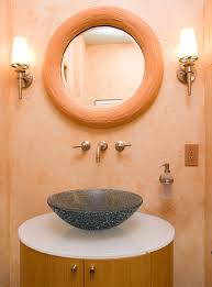 good looking wall mounted soap dispenser in bathroom transitional with tiny half bath next to master bath idea alongside half circle driveway and vessel